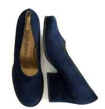 Yves Saint Laurent ITALY Vintage YSL Classic Blue Suede Block Heel Shoes New 9