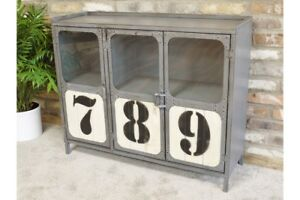 Vintage Industrial Metal Cabinet With 3 Door Retro Style Storage Furniture