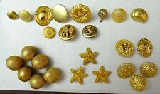 Lot of 25 Gold Tone Metal Buttons - Sets and Singles - Nice Variety!