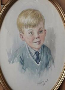 PAIR Portraits A Brother and Sister Watercolour and Pastel Juliet Pannett 1968