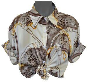 Vintage Versace Baroque Free Size Chain White Retro White Long Sleeve T Shirt