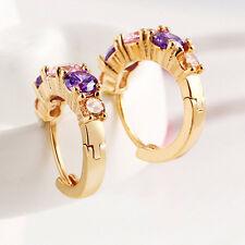 Top Cheap Elegant Gold Huggie Hoop Earrings Multi Colour Gemstone 15X13Mm Cute
