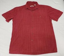 Mens Campia Mod Size M Medium Red Short Sleeve Button Front Shirt