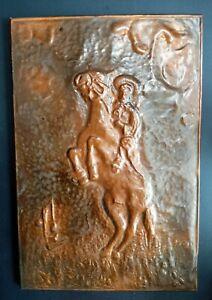 Vintage Copper Wall Hanging Plaque Cowboy Riding Horse