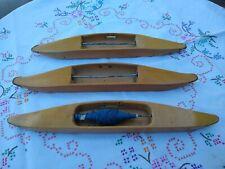 Three Vintage Scandinavian Wooden Weaving Shuttles.