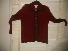 Misook ~ Art to Wear ~ Bordeaux/Black Openfront Tunic Jacket ~ S M L