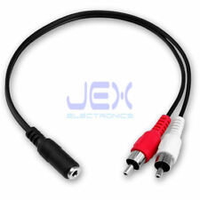 """Twin/2/2x Male RCA to Female 1/8"""" 3.5mm Stereo Jack Adapter Connector Cable"""