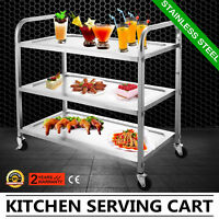 Kitchen Stainless Steel Serving Cart Catering Food Prep Cart Dining