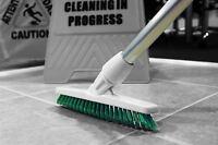 Grout Cleaning Angled Brush Long Handled Stiff Bristle Deck Floor Tile Scrub Blu