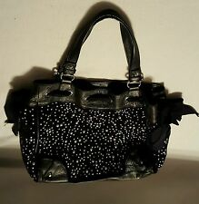 JUICY COUTURE HANDBAGS,  BLACK WITH SILVER  STUDDED RHINESTONES,