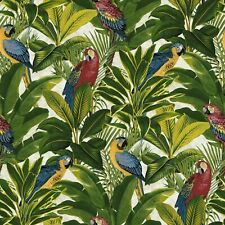 Tropical Leaves Exotic Bird Parrot Wallpaper Floral Red Blue Yellow Green Jungle