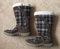 Helly Hansen Ladies Knee High Boots Flat Faux Fur & Suede Brown Beige Uk 5.5