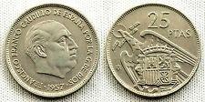 ESTADO ESPAÑOL 25 PESETAS 1957*59 MADRID XF+/EBC+ PARTE DEL BRILLO ORIGINAL