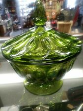 Vintage EMERALD Green Glass Pedestal Candy Dish with Lid Pre Owned. Beautiful