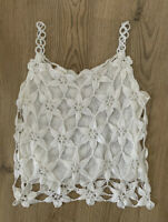 Crochet Knitted Camisole Cami Vest Top S 8 10 White Strappy Retro Summer