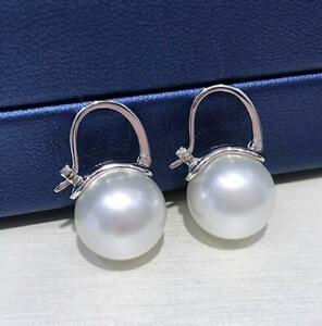 Huge AAAA 11-12mm  natural south ses white round pearl earrings 18k White Gold