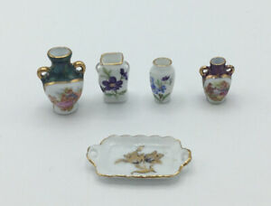 Dolls House Reutter Vases And Tray