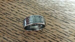 Handcrafted 90% Silver 1964 Kennedy Half Dollar Coin Ring U Pick Sz. 8-13