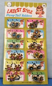 Pony Tail Holders ~ Full Dime Store Display Card 1950's