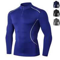 Mens Sports Compression Shirts Workout Base Layers Running Football Tights Black