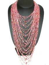 "22"" 40 STRAND PINK ROSE QUARTZ DECORATED LAYERED GLASS SEED BEADS necklace"