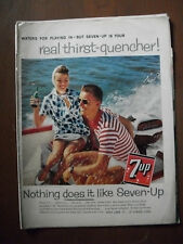 1959 VTG Orig Magazine Ad Water's For Playing In 7 Up Soda Is Thirst Quencher