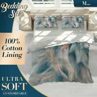 Feather Texture Feathers Blue Duvet Cover Set Single Double Queen King Size