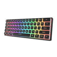 Gamakay MK61 Wired Mechanical Keyboard   Optical Hot Swappable Pudding Caps RGB