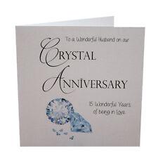 15th Crystal Wedding Anniversary Card Husband Luxury Handmade