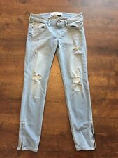 Women's HOLLISTER Destroyed Blue Jeans, Size 3, GREAT CONDITION!
