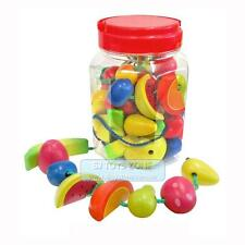 Wooden Lacing Fruit In Jar 34 pcs Threading Play Set Children Learning Toy Gift