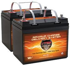 2 Merits MP3F VMAX857 12V 35Ah Grp U1 AGM VRLA Deep Cycle Scooter Battery