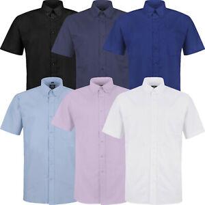 New Mens Short Sleeve Shirt Button Up Plain Smart Formal Business Work Dress Top