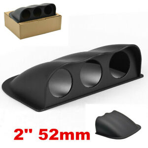 1x Universal Car Black 2in 52mm 3 Triple Hole Dash Gauge Pod Mount Holder ABS