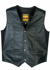 Men's Real Sheep Leather Waistcoat Motorcycle Biker Classic Style Black Gillet
