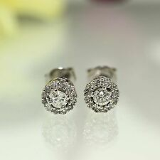 10k White gold natural Round Brilliant cut Diamond Stud cluster earrings .68ctw
