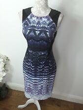 Karen Millen purple white abstract print  black satin wiggle dress 12 10