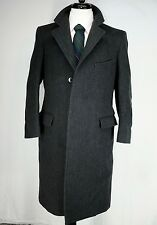 Vintage J. Press Charcoal Gray Herringbone Tweed Chesterfield Over Coat 38R USA