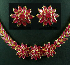 FASHION JEWELRY GEM 14K YELLOW GOLD RED RUBY lady NECKLACE + EARRINGS S75