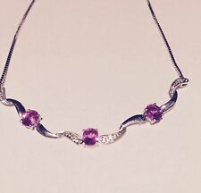 9ct WHITE GOLD DIAMOND AND PINK SAPPHIRE NECKLACE~as new~
