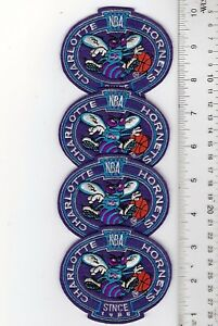 """Lot of 4 Charlotte Hornets Since 1988 Sew On Patch 3.5"""" x 2.75"""" FREE SHIPPING!!!"""