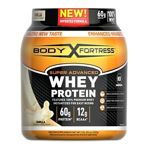 Body Fortress Super Advanced Whey Protein Powder, Vanilla, 60g Protein, 2lb, 32o