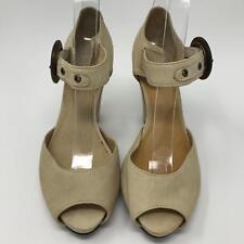 FRYE Women's Kelsey Ankle Strap Beige Soft Leather High Heel Shoes Size: 7
