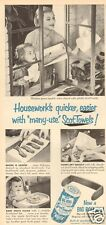 1950s vintage SCOTT Paper Towel MOTHER DAUGHTER Kitchen RETRO BLUE Cleaning Ad