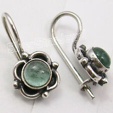 925 Sterling Silver High End APATITE ARTISAN Earrings 3/4 inches ETHNIC JEWELRY