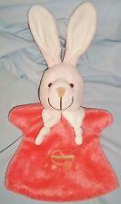 Doudou Marionnette Lapin Rabbit Rose Velours et Polaire Playkids (32x18cm)
