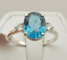 London Blue Topaz 3.50 ct 11x9mm Oval Ring - Sterling Silver