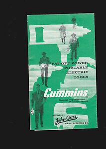 Oster Portable Electric Tools Cummins 1959 brochure- drills, saws, grinders