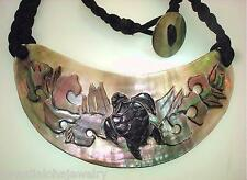 Hand Carved Black Lip Mother Pearl Hawaiian Honu Turtle Braided Toggle Necklace