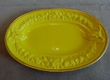 VTG '55 Ermete Agostinelli~Bassano Italy Hand Painted Goats/Flowers Yellow Dish